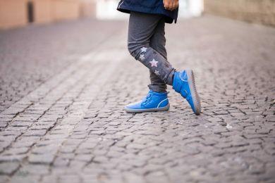 Lasten lämminvuoriset paljasjalkakengät Penguin - sininen- BeLenka
