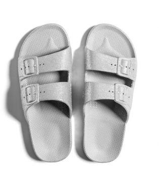 SlipOn sandaalit- Bling-hopea/glitter - Moses