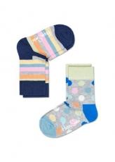 Lasten sukat 2 pack (harmaa/pallot/raita)