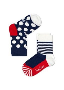 Lasten sukat 2 pack (sininen pilkku/raita) Happy Socks