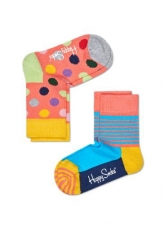 Lasten sukat 2 pack (korallipilkku/raita) Happy Socks