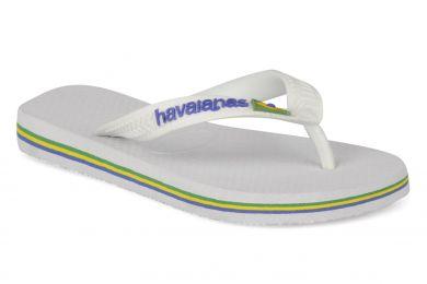 Valkoiset flip flopit- Brasil Logo Havaianas