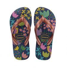 Lasten flip flopit Kids Flores- blue/gold -Havaianas