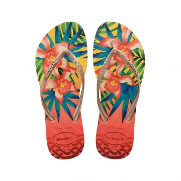Tropical yellow flip flopit Slim -Havaianas