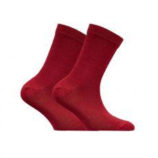 Lasten merinovillainen sileä sukka - punainen - Sukkamestarit