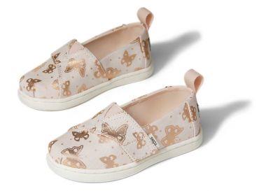 Lasten kangaskengät-peach shimmer butterflies- TOMS