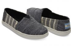 Kangaskengät junior-black cabana stripes- TOMS